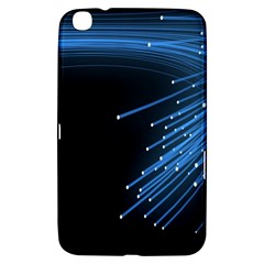 Abstract Light Rays Stripes Lines Black Blue Samsung Galaxy Tab 3 (8 ) T3100 Hardshell Case  by Alisyart