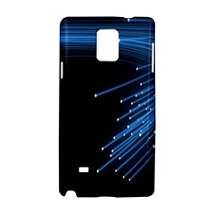 Abstract Light Rays Stripes Lines Black Blue Samsung Galaxy Note 4 Hardshell Case by Alisyart