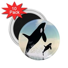 Whale Mum Baby Jump 2 25  Magnets (10 Pack)  by Alisyart