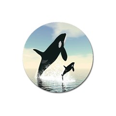 Whale Mum Baby Jump Magnet 3  (round) by Alisyart