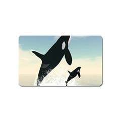 Whale Mum Baby Jump Magnet (name Card) by Alisyart