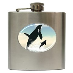 Whale Mum Baby Jump Hip Flask (6 Oz) by Alisyart