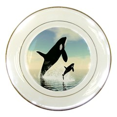 Whale Mum Baby Jump Porcelain Plates by Alisyart
