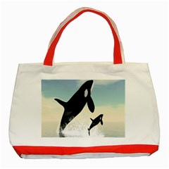Whale Mum Baby Jump Classic Tote Bag (red) by Alisyart