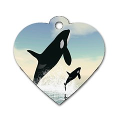 Whale Mum Baby Jump Dog Tag Heart (two Sides) by Alisyart