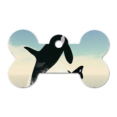Whale Mum Baby Jump Dog Tag Bone (two Sides) by Alisyart