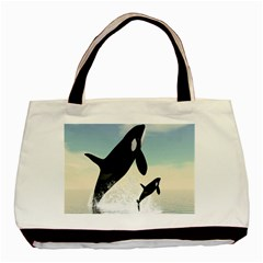 Whale Mum Baby Jump Basic Tote Bag (two Sides) by Alisyart