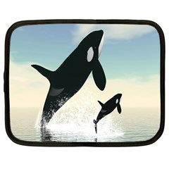 Whale Mum Baby Jump Netbook Case (large) by Alisyart