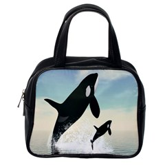 Whale Mum Baby Jump Classic Handbags (one Side) by Alisyart
