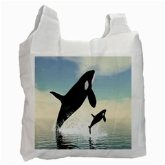 Whale Mum Baby Jump Recycle Bag (two Side)  by Alisyart