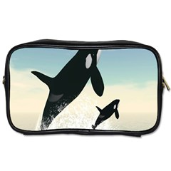 Whale Mum Baby Jump Toiletries Bags 2-side by Alisyart