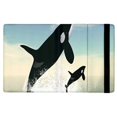 Whale Mum Baby Jump Apple Ipad 3/4 Flip Case by Alisyart