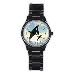 Whale Mum Baby Jump Stainless Steel Round Watch by Alisyart
