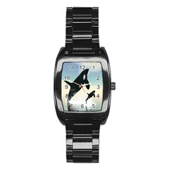 Whale Mum Baby Jump Stainless Steel Barrel Watch by Alisyart
