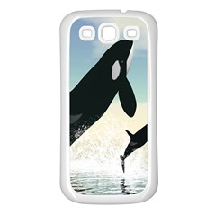 Whale Mum Baby Jump Samsung Galaxy S3 Back Case (white) by Alisyart