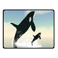 Whale Mum Baby Jump Double Sided Fleece Blanket (small)  by Alisyart