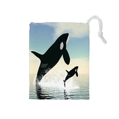 Whale Mum Baby Jump Drawstring Pouches (medium)  by Alisyart