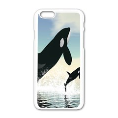 Whale Mum Baby Jump Apple Iphone 6/6s White Enamel Case
