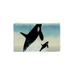 Whale Mum Baby Jump Cosmetic Bag (xs) by Alisyart