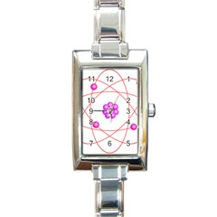 Atom Physical Chemistry Line Red Purple Space Rectangle Italian Charm Watch by Alisyart