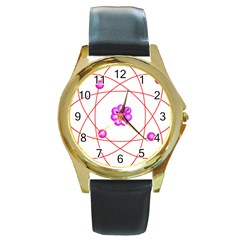 Atom Physical Chemistry Line Red Purple Space Round Gold Metal Watch by Alisyart