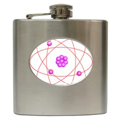 Atom Physical Chemistry Line Red Purple Space Hip Flask (6 Oz)