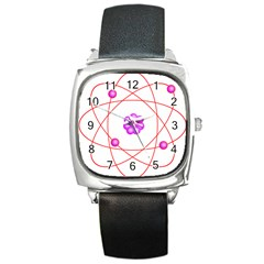Atom Physical Chemistry Line Red Purple Space Square Metal Watch by Alisyart