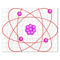 Atom Physical Chemistry Line Red Purple Space Rectangular Jigsaw Puzzl by Alisyart