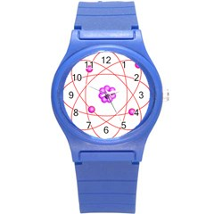 Atom Physical Chemistry Line Red Purple Space Round Plastic Sport Watch (s)