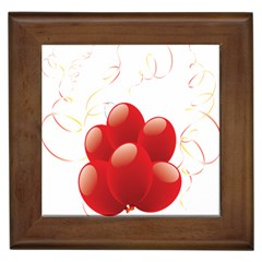 Balloon Partty Red Framed Tiles by Alisyart