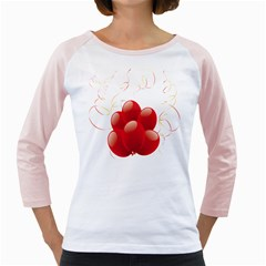 Balloon Partty Red Girly Raglans