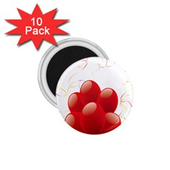 Balloon Partty Red 1 75  Magnets (10 Pack)  by Alisyart
