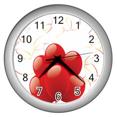 Balloon Partty Red Wall Clocks (silver)  by Alisyart