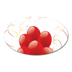 Balloon Partty Red Oval Magnet