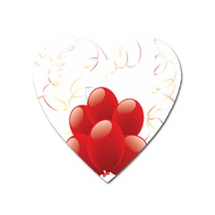 Balloon Partty Red Heart Magnet by Alisyart