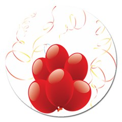 Balloon Partty Red Magnet 5  (round) by Alisyart