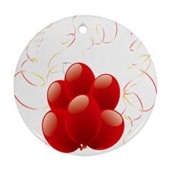 Balloon Partty Red Round Ornament (two Sides) by Alisyart