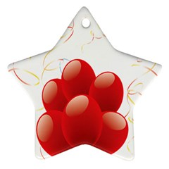 Balloon Partty Red Star Ornament (two Sides) by Alisyart