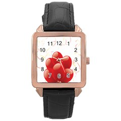 Balloon Partty Red Rose Gold Leather Watch  by Alisyart
