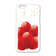 Balloon Partty Red Apple Iphone 6/6s White Enamel Case