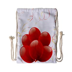 Balloon Partty Red Drawstring Bag (small) by Alisyart