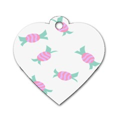 Candy Pink Blue Sweet Dog Tag Heart (one Side) by Alisyart