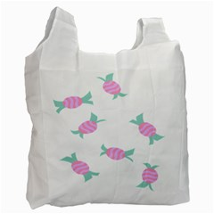 Candy Pink Blue Sweet Recycle Bag (one Side)
