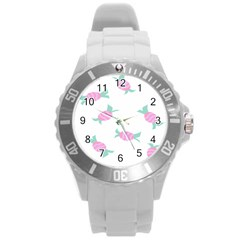 Candy Pink Blue Sweet Round Plastic Sport Watch (l) by Alisyart