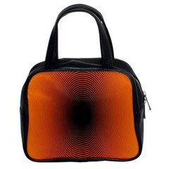 Abstract Circle Hole Black Orange Line Classic Handbags (2 Sides) by Alisyart