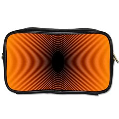 Abstract Circle Hole Black Orange Line Toiletries Bags by Alisyart