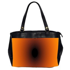 Abstract Circle Hole Black Orange Line Office Handbags (2 Sides)  by Alisyart
