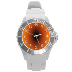 Abstract Circle Hole Black Orange Line Round Plastic Sport Watch (l) by Alisyart