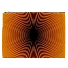 Abstract Circle Hole Black Orange Line Cosmetic Bag (xxl)