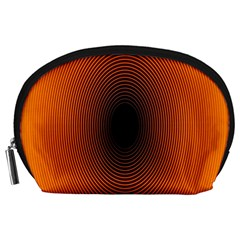 Abstract Circle Hole Black Orange Line Accessory Pouches (large)  by Alisyart